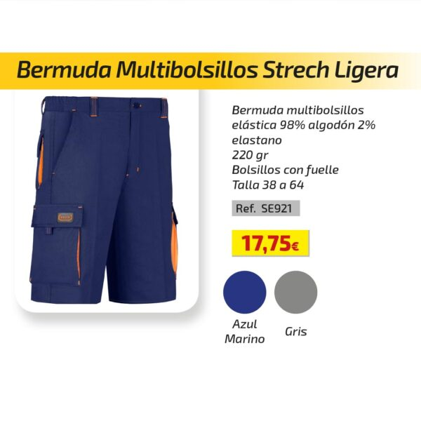 Bermuda Multibolsillos Strech Ligera
