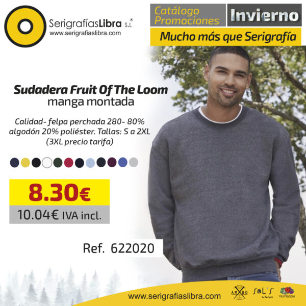 Sudadera Fruit Of The Loom manga montada
